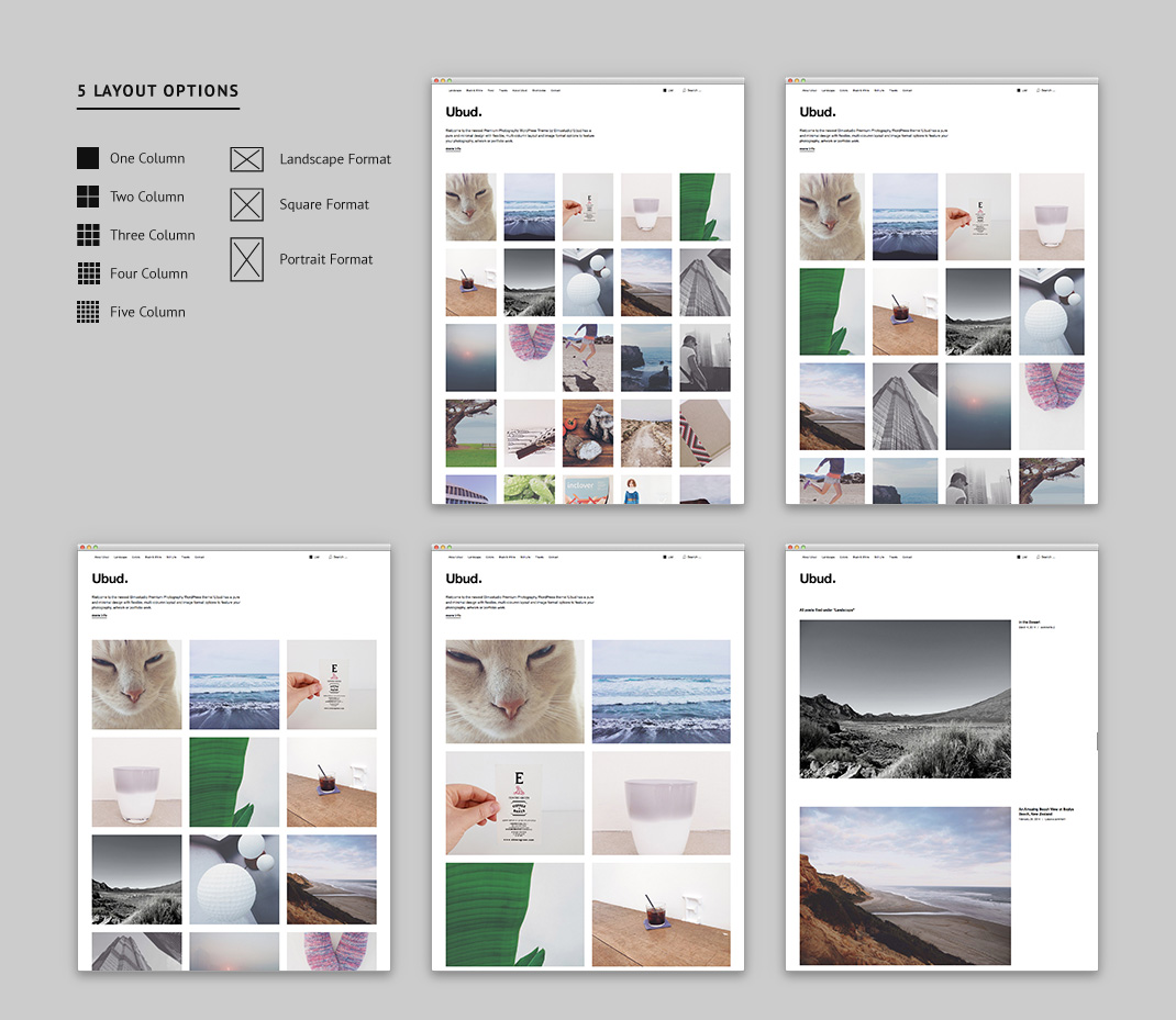 You can choose between five different grid layouts and three image formats.